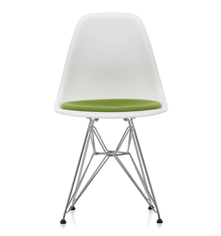 vitra eames dsr upholstered seat side chair white avocado