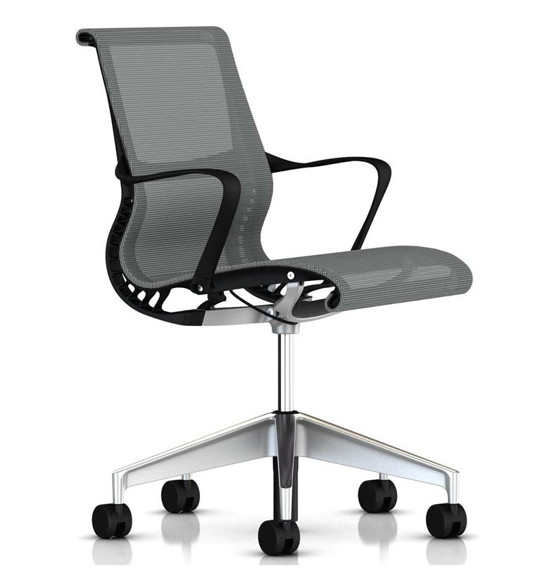 Herman Miller Setu Silver Semi Polished Base Office Chairs UK