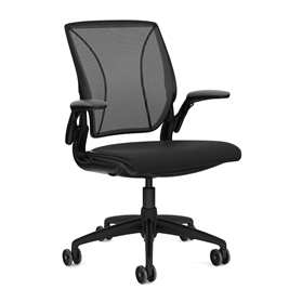 NEXT DAY DELIVERY! Humanscale Diffrient World Chair - All Black Fabric Seat - 15 Year Guarantee