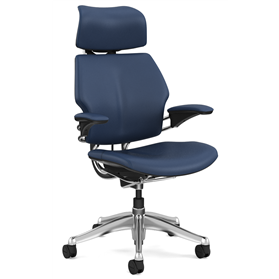 NEXT DAY DELIVERY! Humanscale Polished Freedom Chair, Bizon Twilight Blue Leather, Deep Blue Box Stitch Detail