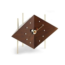 Vitra Diamond Desk Solid Walnut Clock by George Nelson