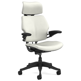 Humanscale Graphite Freedom Chair, Columbia Snow Premium Leather