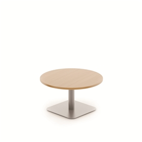 Komac Reef Round Top Square Bottom 600mm D White/Beech Coffee Table
