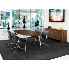 Boss Design Credenza, Boss Design Pegasus Elliptical Table & 4 Boss Design Tokyo Meeting Chairs Package