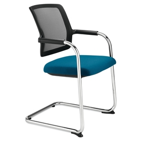 Dauphin Shape Mesh Back Cantilever Visitor Chair