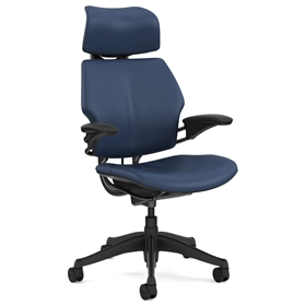 Humanscale Graphite Freedom Chair, Bizon Twilight Blue Leather