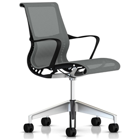 Herman Miller Setu Silver, Semi Polished Base
