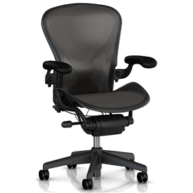 Herman Miller Aeron Graphite Edition, Size B, Leather Arms