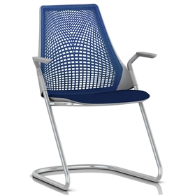 herman miller sayl sled base visitor armchair blue