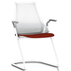 herman miller sayl sled base visitor armchair studio white