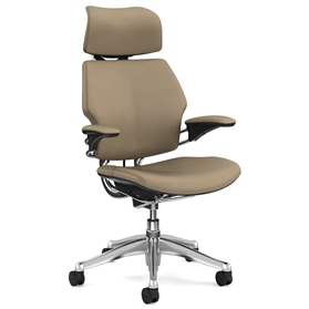 Humanscale Polished Freedom Chair, Columbia Sand Premium Leather