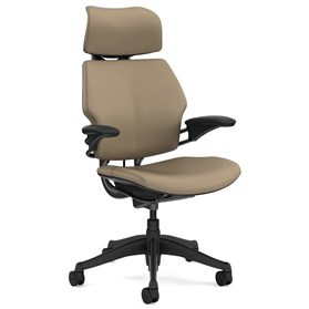 Humanscale Graphite Freedom Chair, Columbia Sand Premium Leather