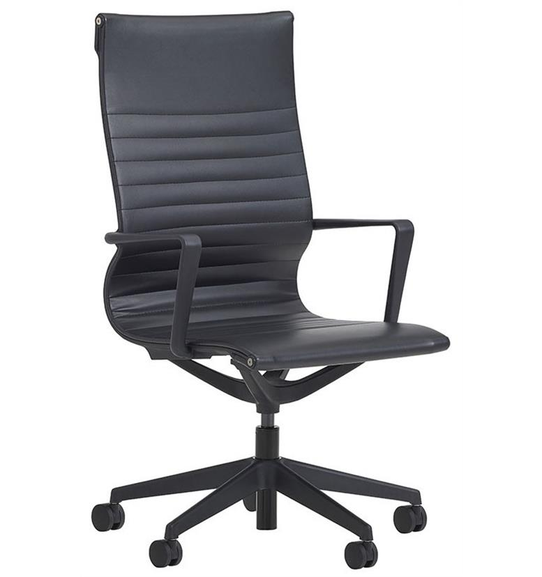 verco flux black faux leather chair high back