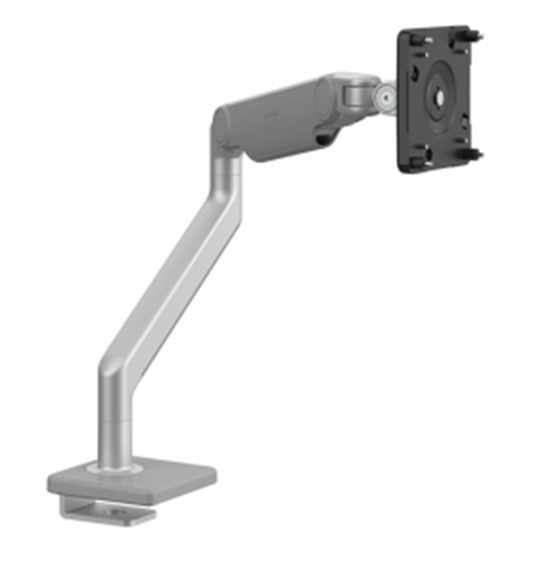 humanscale m2.1 monitor arm in silver with sliding desk clamp