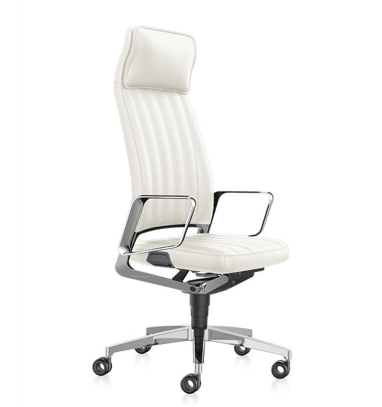 Executive Leather Office Chair, White Leather Computer Chairs