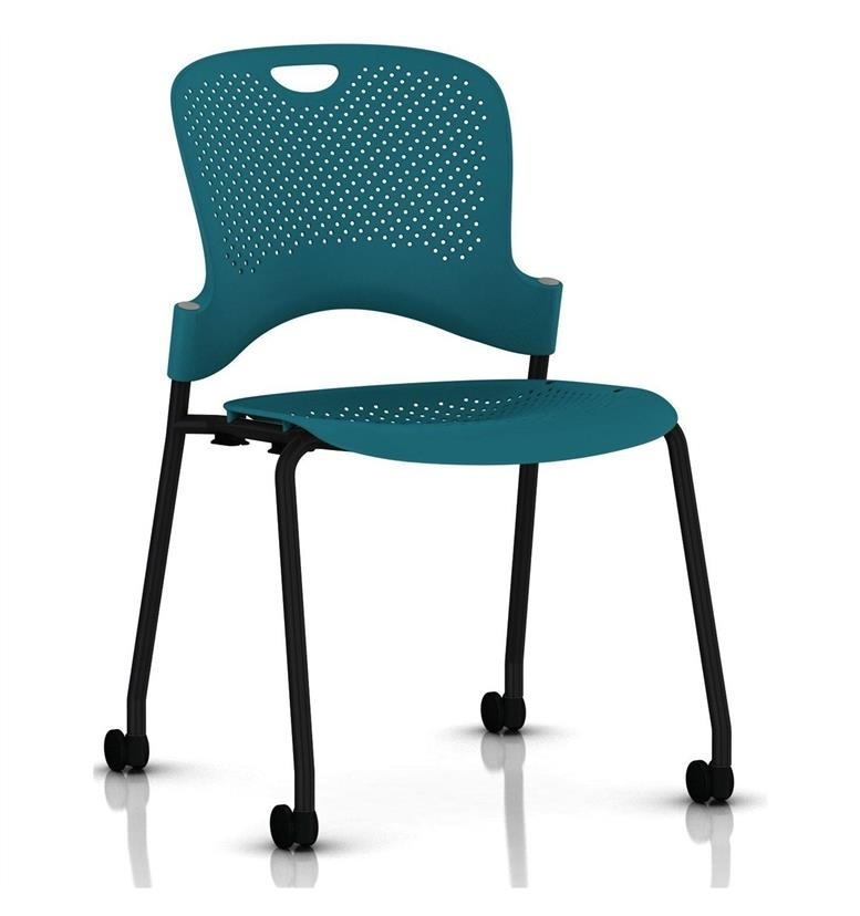 Herman Miller Caper Stacker Chair Turquoise Black Frame