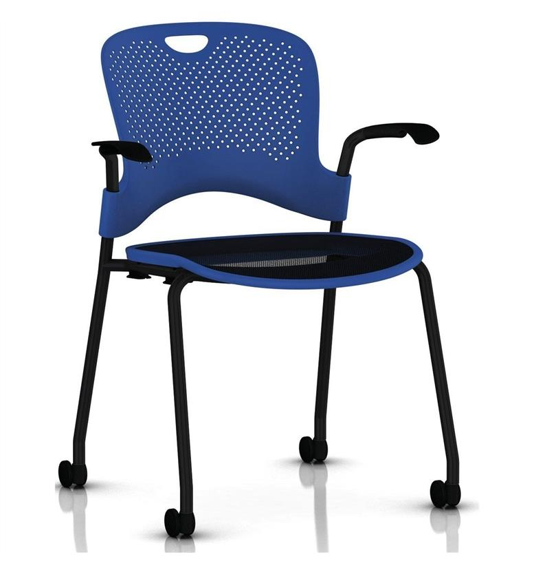 Herman Miller Caper Stacker Chair Black Frame with Flexnet Seat