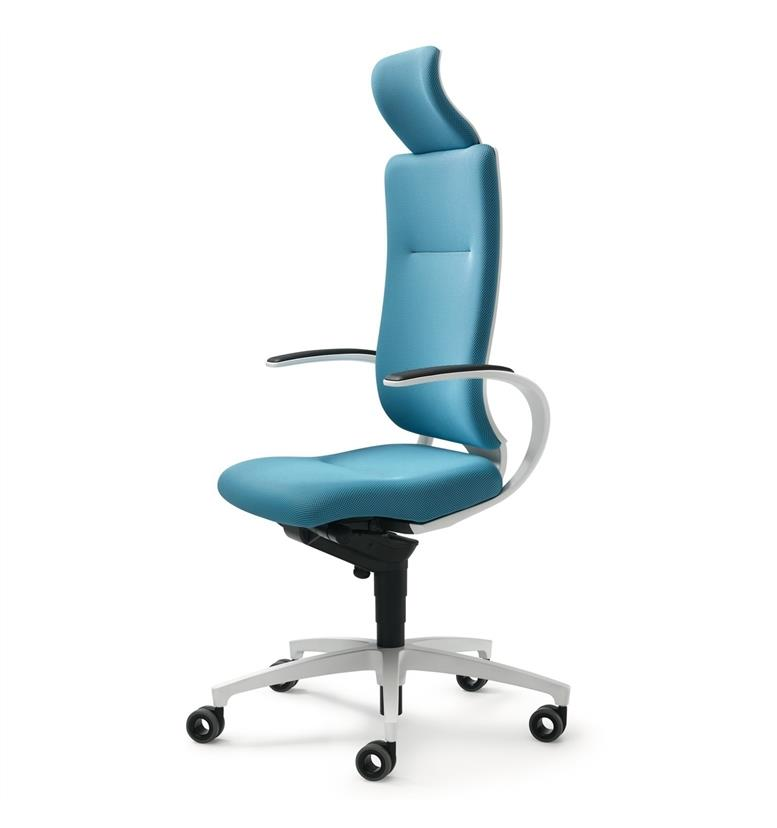 Dauphin InTouch High Back Swivel Chair with Neckrest White Edition