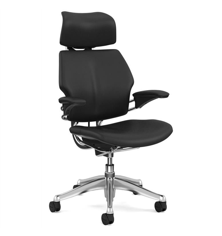 Humanscale Polished Freedom Chair, Bizon Black Leather, Black Box Stitch Detail