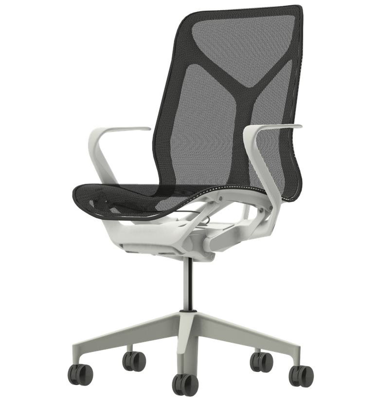 Herman MIller Cosm mid back chair studio white fixed arms