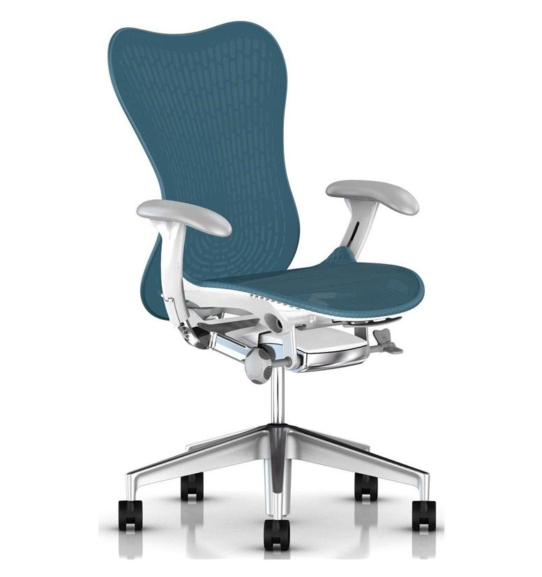Herman Miller Mirra 2 Dark Turquoise White Semi-Polished