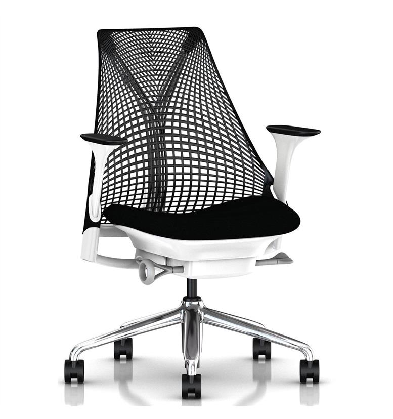 Herman Miller Sayl Chair Black and White Polished