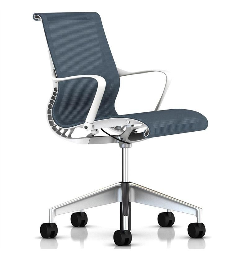 Herman Miller Setu Berry Blue Semi Polished Base