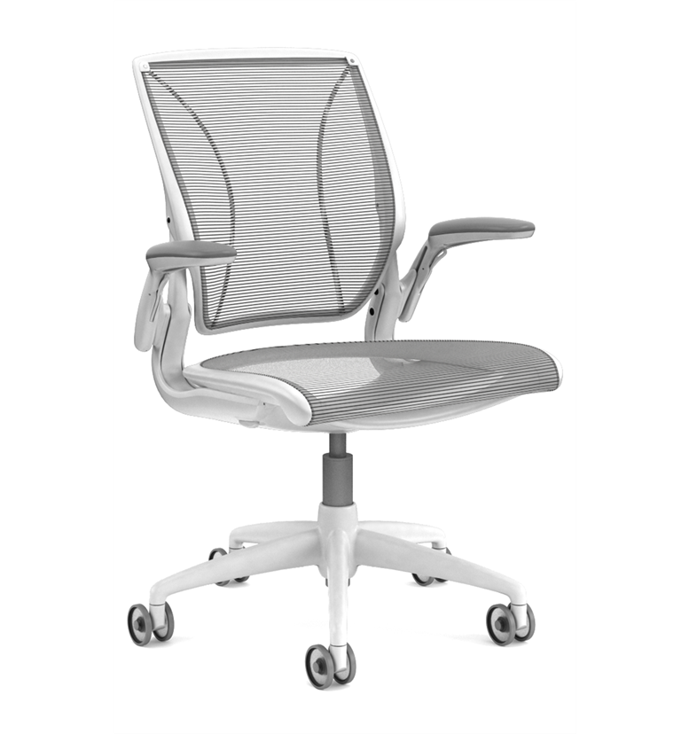 Humanscale Diffrient World chair white with black mesh