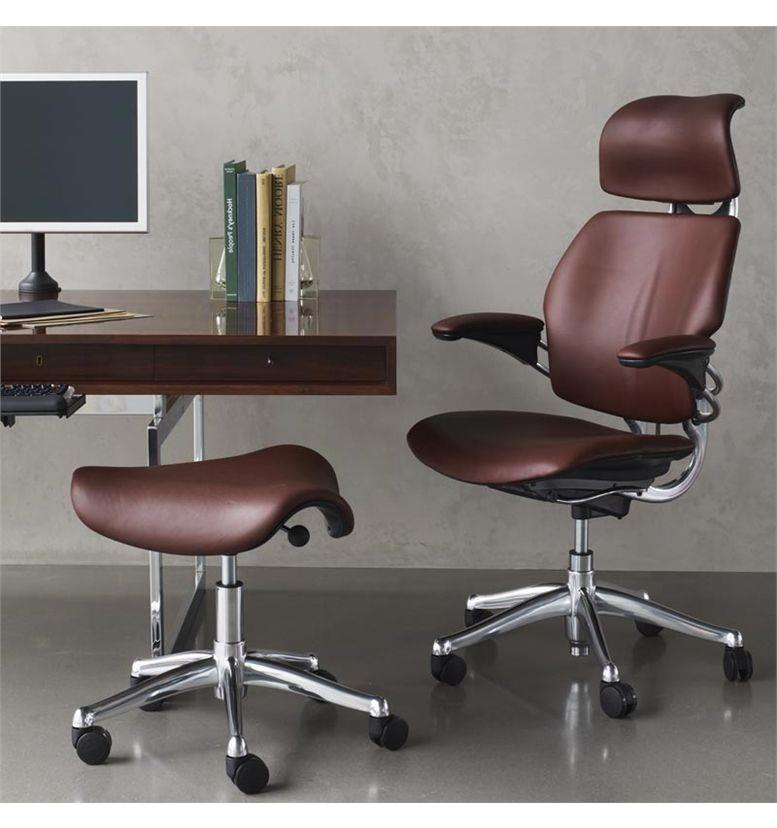 Humanscale Freedom chair with saddles stool leather