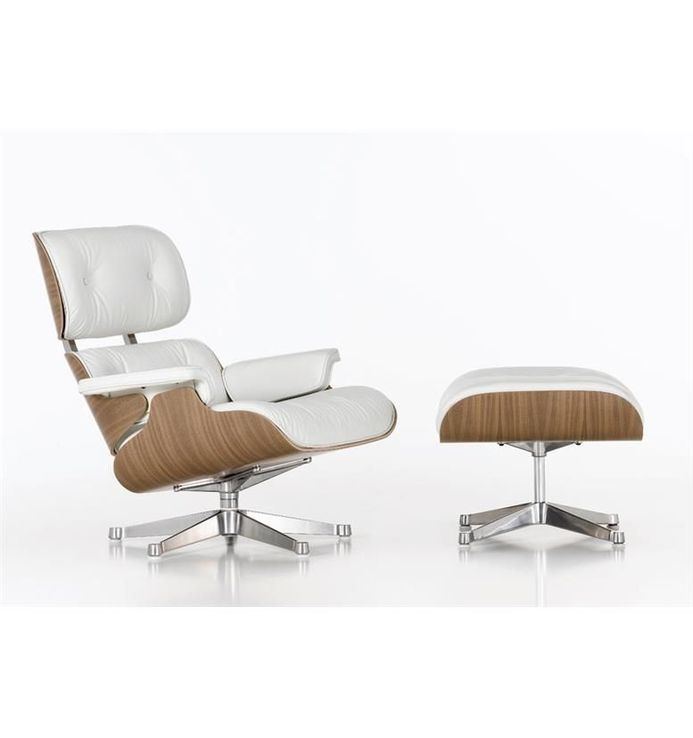 Vitra white lounge chair with ottoman