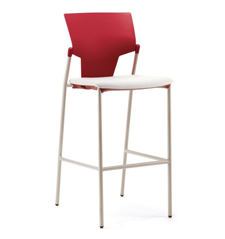 Pledge Ikon plastic four leg stool with upholstered seat