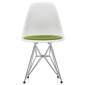 Vitra Eames DSR Upholstered Chair White and Avocado
