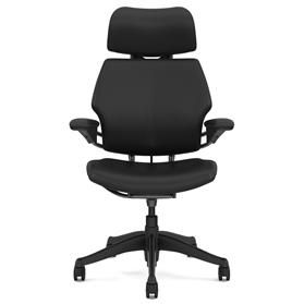 Humanscale Graphite Freedom Chair, Bizon Black Leather, Black Box Stitch Detail