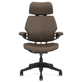 Humanscale Freedom chair with headrest Miso Light Brown leather