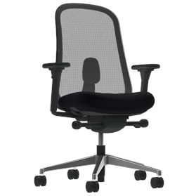 Herman Miller Lino Office Chair Black, Polished Base, Fully Adjustable Arms