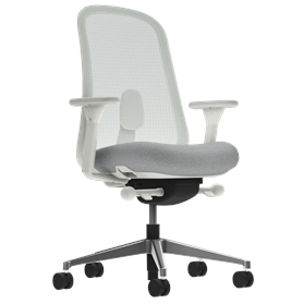 Herman MIller Lino Office Chair Aristotle Grey, Polished Aluminium Base