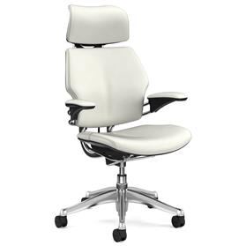 NEXT DAY DELIVERY! Humanscale Polished Freedom Chair, Columbia Snow Luxury Soft Leather