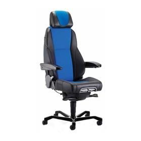 KAB K4 Premium Office Chair, Fabric Centre, Black Leather Sides