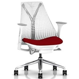 Herman Miller Sayl, Cherry Red, Polished Aluminium Base