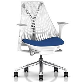 Herman Miller Sayl, Smurf Blue, Polished Aluminium Base