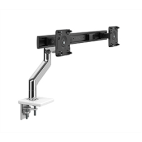 Humanscale M8.1 Monitor Arm with Crossbar, Polished Aluminium with White Trim