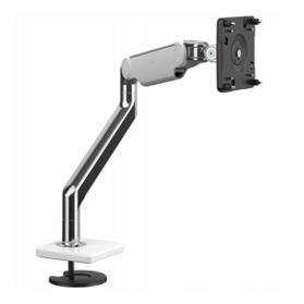 Humanscale M2.1 Monitor Arm with Bolt-Thru Mount, Polished Aluminium with White Trim