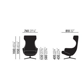 Vitra  Grand Repos Lounge chair dimensions