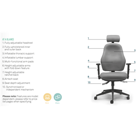 torasen orthopaedica wide task chair with headrest