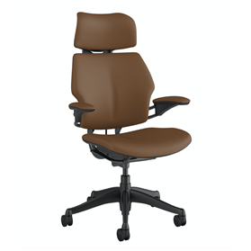 IN STOCK! Humanscale Graphite Freedom Chair in Corvara Saddle Leather with Tan Box Stitching