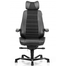 Kab Controller Chair in Black Leather Sides Xtreme Havana fabric