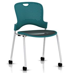 Herman Miller Caper Stacker Chair Turquoise with Flexnet seat