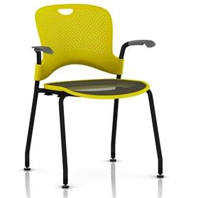 Herman Miller Caper Stacker Chair Yellow with Flexnet Seat