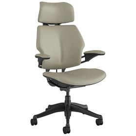 IN STOCK! Humanscale Graphite Freedom Chair with Headrest in Ticino Pebble Grey Leather
