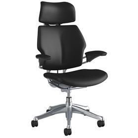IN STOCK! Humanscale Polished Freedom Chair, Ticino Obsidian Black Leather, 3-5 Working Day Delivery